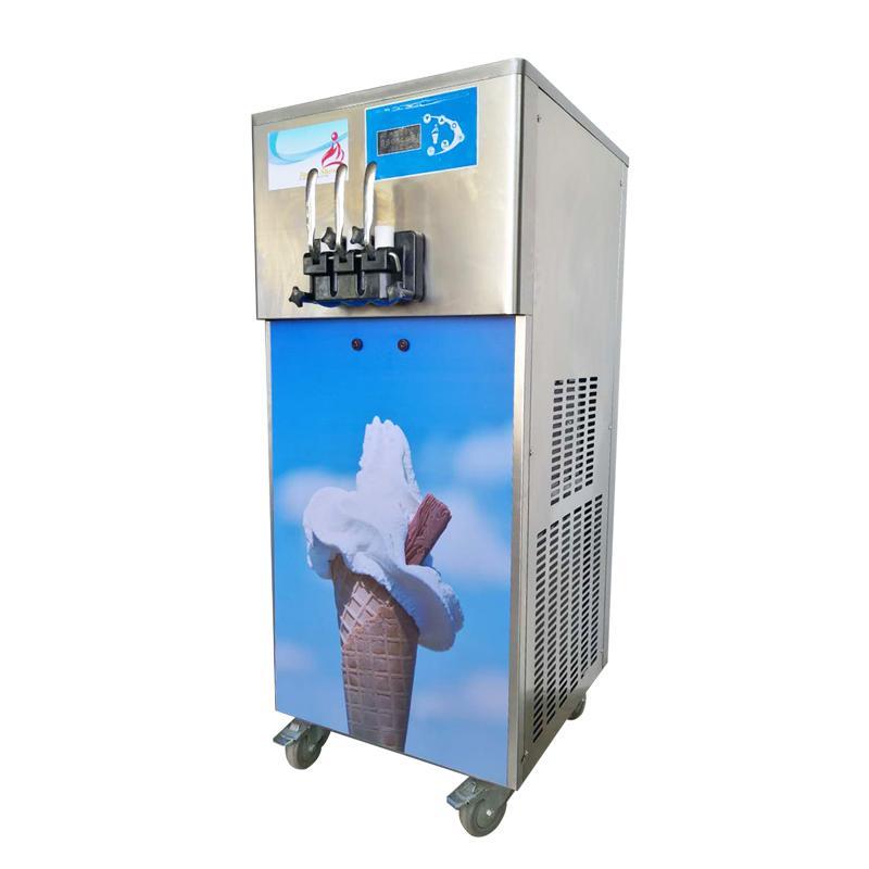 带气泵商用冰淇淋机 立式软冰激凌机 三色软冰淇淋机子价格