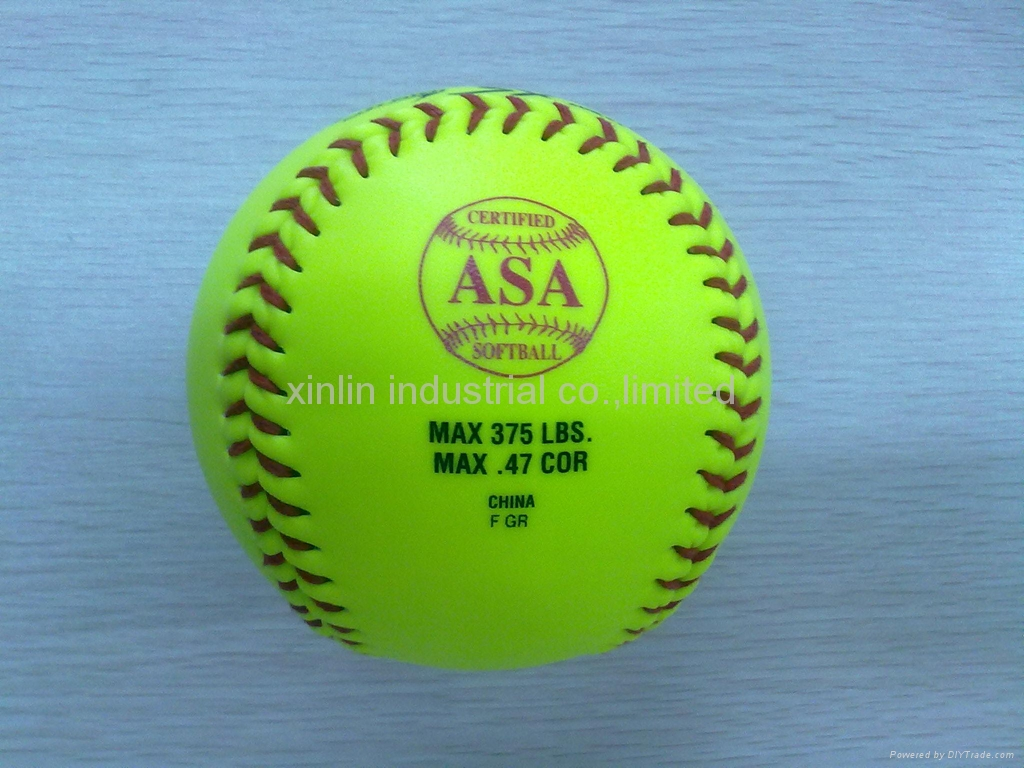 """12"""" optic yellow leather fast slow pitch softball with cor.40 .44 .47 .50 .52"""