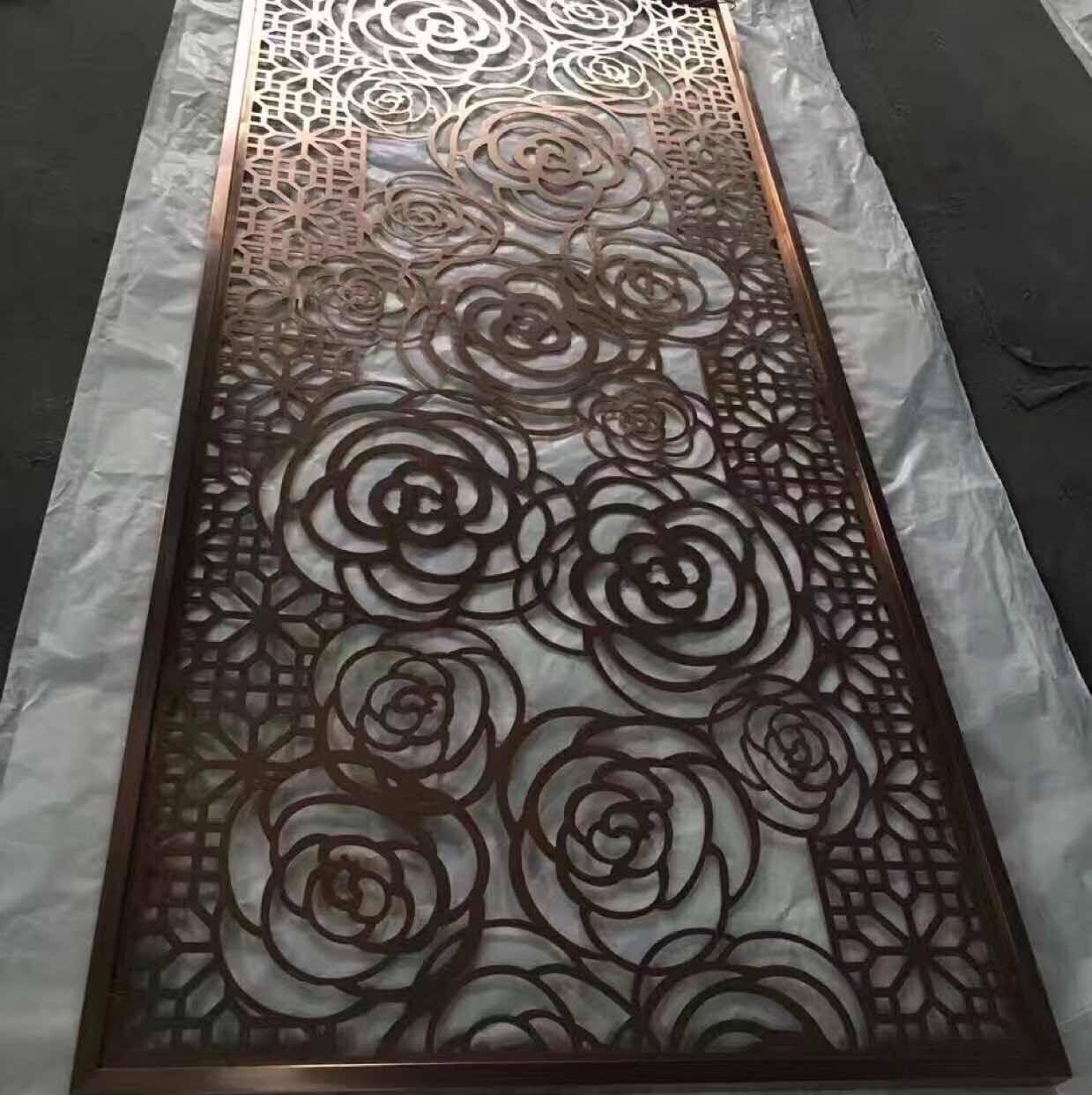 拉丝玫瑰金不锈钢屏风 1