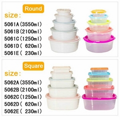 Home kitchen rainbow clear plastic crisper with lids