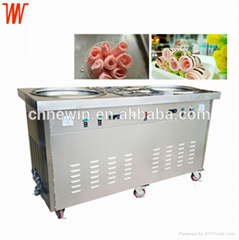 Double pan CE certified fried fry ice