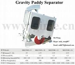 Gravity paddy separator