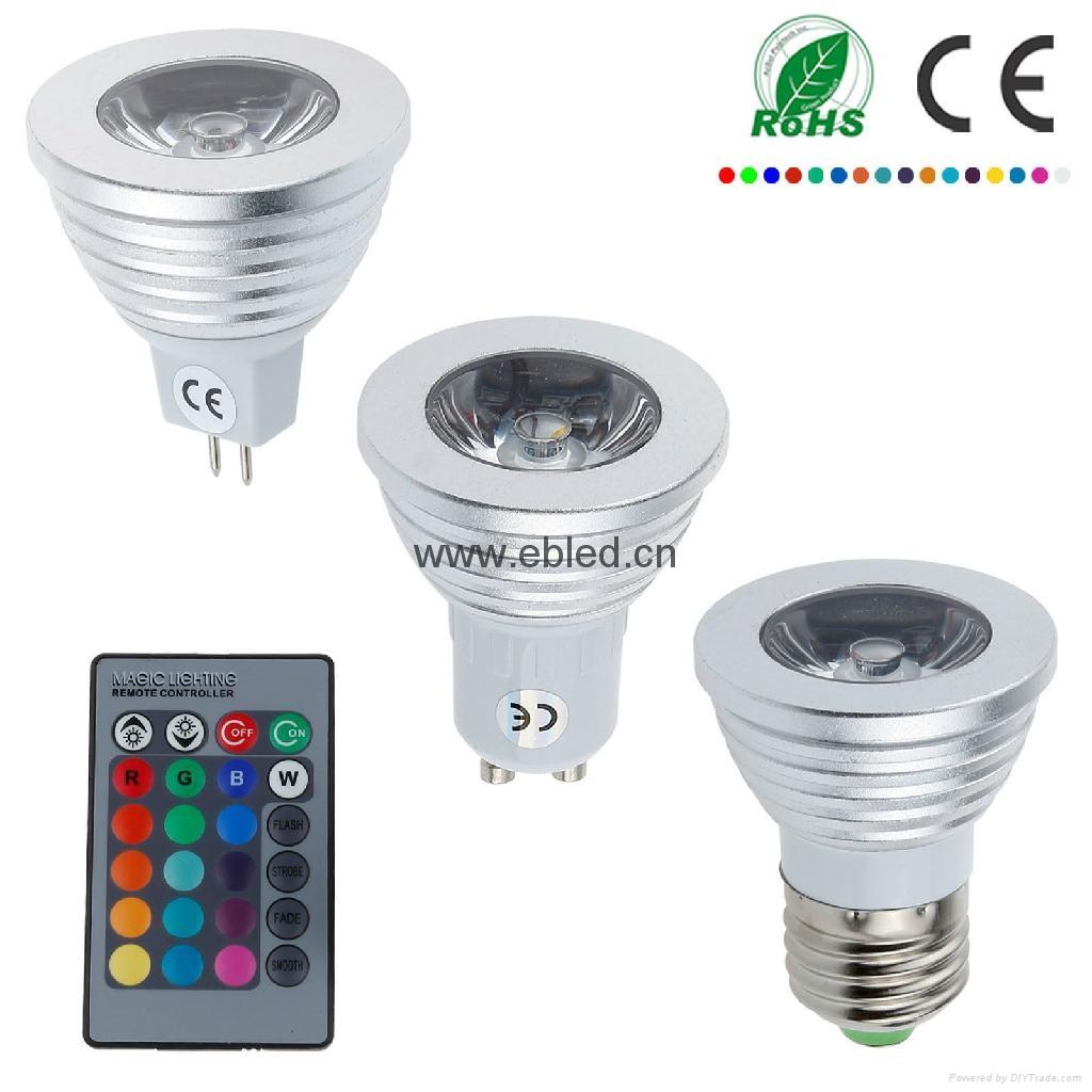 Magic 3W 240V GU10 E27 LED RGB Spot Light Lamp Bulbs Party Downlight + IR Remote 1