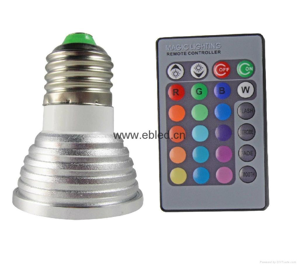 Magic 3W 240V GU10 E27 LED RGB Spot Light Lamp Bulbs Party Downlight + IR Remote 2
