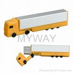 Plastic truck shape usb memory stick with free logo