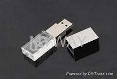 3D logo laser engraved glass usb flash drive/crystal usb memory
