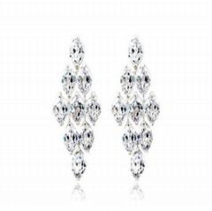 Swiss Cubic Zirconia Stone White Gold Plated Diamond Women Earring