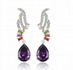 Women Jewelry AAA Zircon Purple Drop Earring