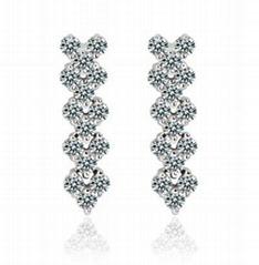 Swiss Cubic Zircon Stone White Gold Plated Diamond Women Drop Earring