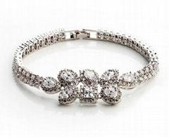 Swiss Cubic Zirconia Stone White Gold Plated Diamond Women Bracelet&Bangles