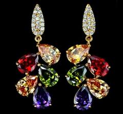 Multicolor Zircon stones Cluster Drop Earring