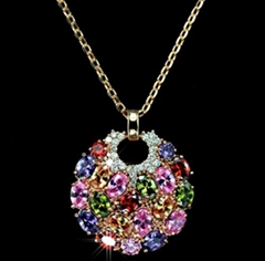 Women Jewelry Multicolor Zircon Round Pendant Necklaces Wholesale