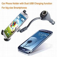 Dual USB Universal Car Holder with Charger for Smartphone