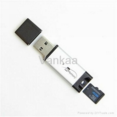 Card Reader Memory 2 in 1 4GB USB or Micro SD Plug into a USB port