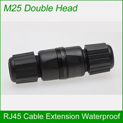 M25 double head RJ45 network cable connector waterproof and dust-proof