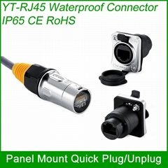 RJ45 plug socket screw type CAT5E waterproof connector panel mount ethernet