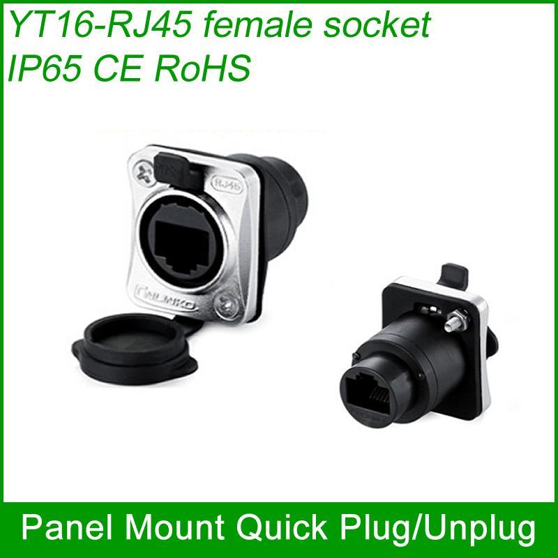 RJ45 plug socket screw type CAT5E waterproof connector panel mount ethernet 3