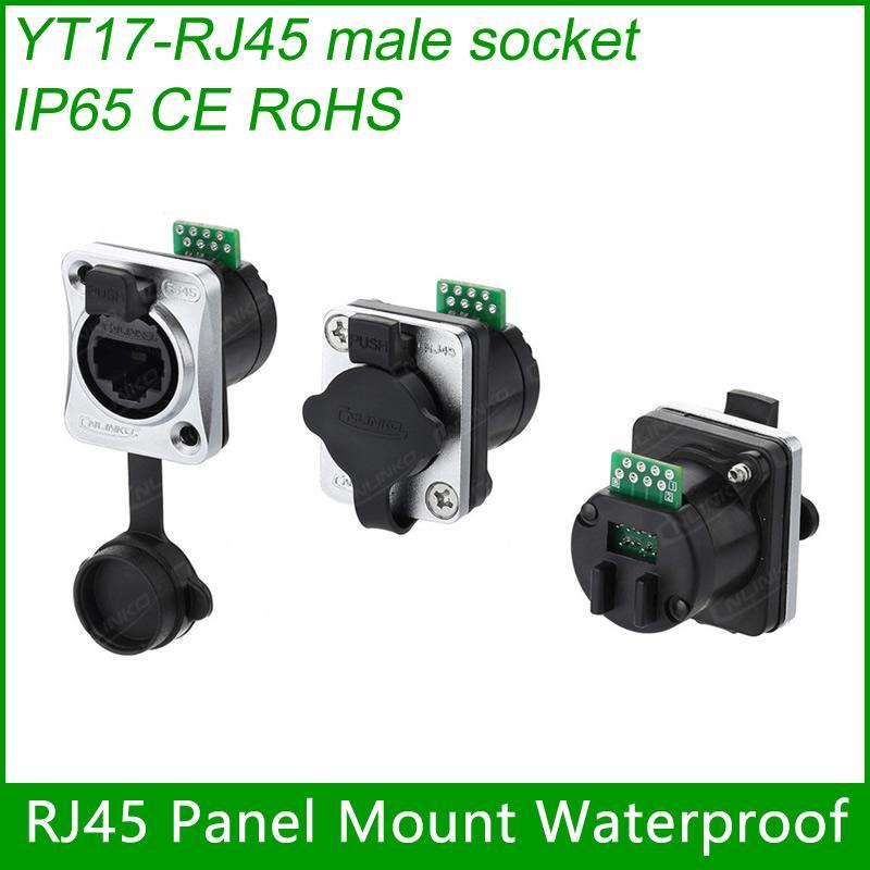 RJ45 plug socket screw type CAT5E waterproof connector panel mount ethernet 4