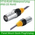 RJ45 plug socket screw type CAT5E waterproof connector panel mount ethernet 5