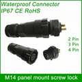 M14 panel-mount cable to panel (screw