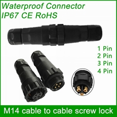 M14 cable to cable (screw lock) IP68 waterproof connector male and female plug