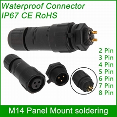 M14 waterproof Connector cable male female plug IP67 led outdoor wire socket Pan