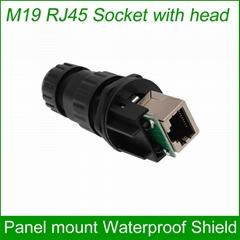 M19 RJ45 waterproof Connector Outdoor AP socket Gigabit Straight head Panel moun