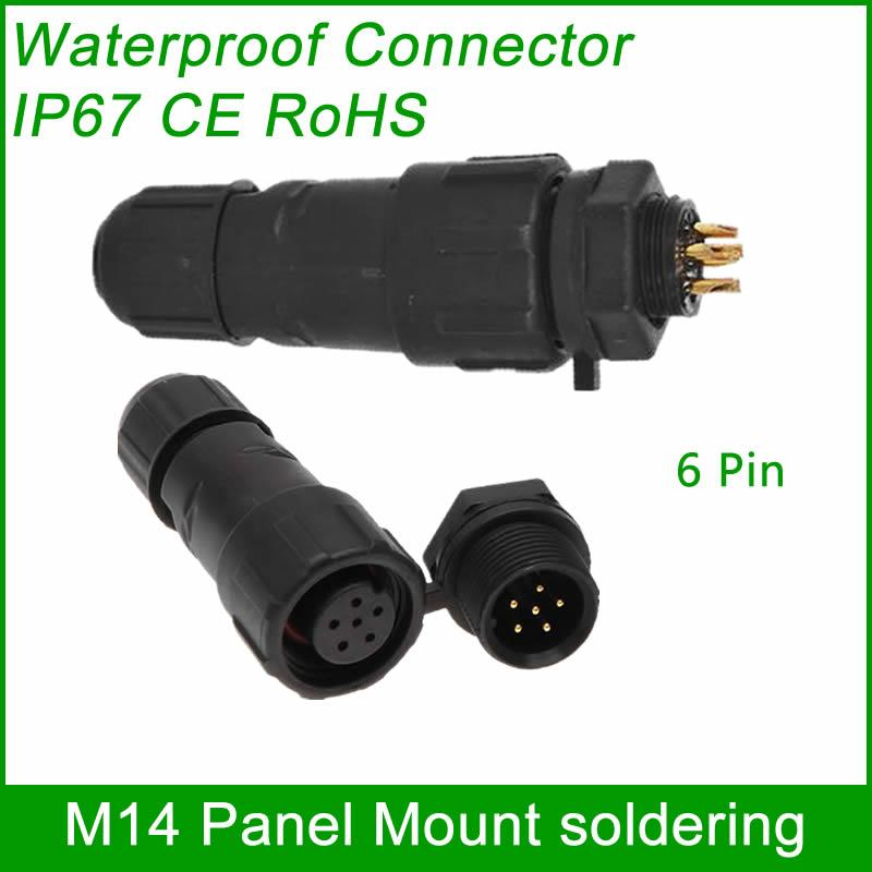 M14 waterproof Connector cable male female plug IP67 led outdoor wire socket Pan 10