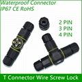 T Connector 2/3/4 pin IP67 Waterproof outdoor Lighting Electrical wire quick plu 10