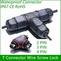 T Connector 2/3/4 pin IP67 Waterproof outdoor Lighting Electrical wire quick plu 1