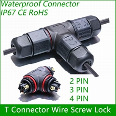 T Connector 2/3/4 pin IP67 Waterproof outdoor Lighting Electrical wire quick plu