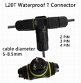 T Connector 2/3/4 pin IP67 Waterproof outdoor Lighting Electrical wire quick plu 5