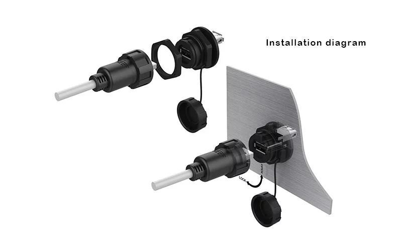 USB2.0 female socket plug Panel Mount adapter Waterproof Connector IP67 9