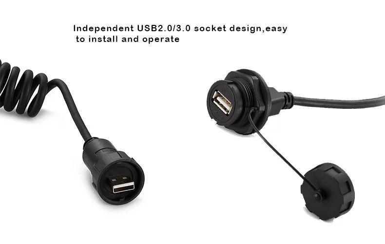 USB2.0 female socket plug Panel Mount adapter Waterproof Connector IP67 10