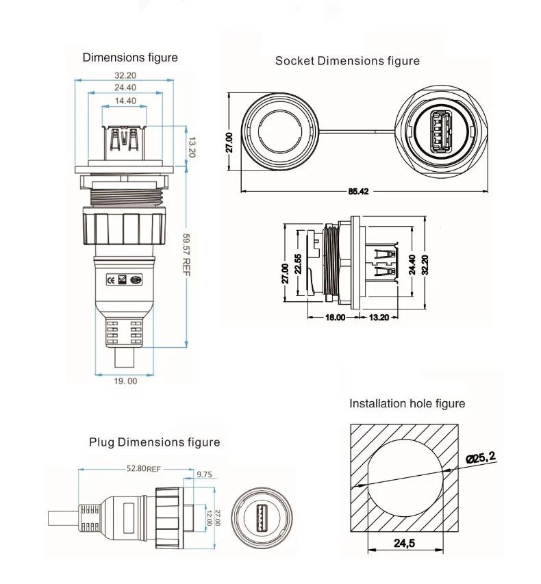 USB2.0 female socket plug Panel Mount adapter Waterproof Connector IP67 11
