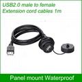 USB2.0 female socket plug Panel Mount adapter Waterproof Connector IP67 3