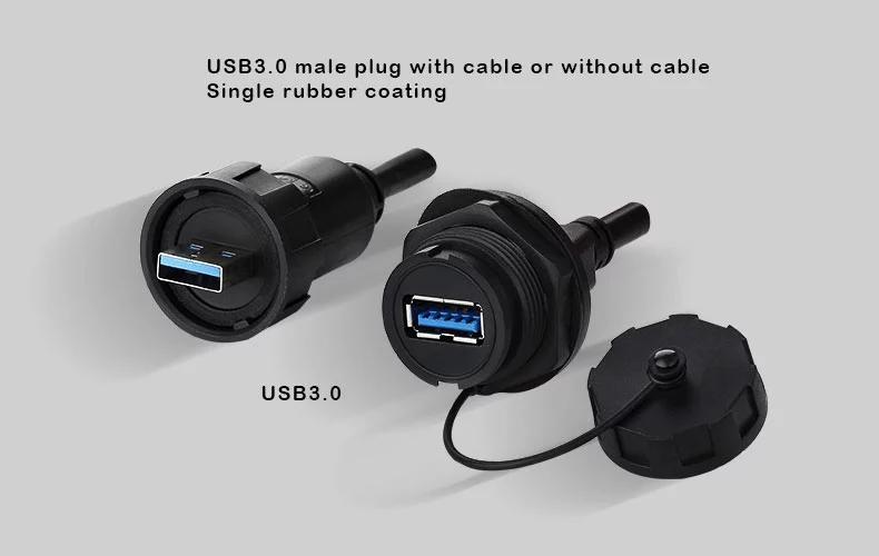 usb3.0 panel mount socket water resistant IP 67 connector 7