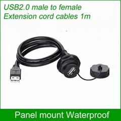 USB2.0 Waterproof connector Panel Mount IP67 Waterproof Cable 1m Socket