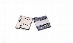 Micro SIM卡座連接器 6pin H=1.35,帶CD