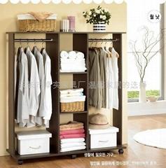 簡約時尚雙挂杆黑胡桃色衣櫥