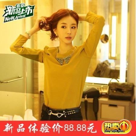 韩版小V领镶钻雪纺衬衫 1