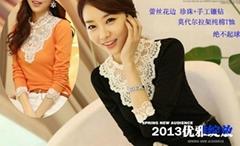 珍珠镶钻莫代尔拉架纯棉T恤