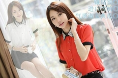 2013韩版新款雪纺短袖衬衫
