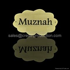 Excellent quality zinc alloy custom cheap metal 24k gold plate abaya logo for se