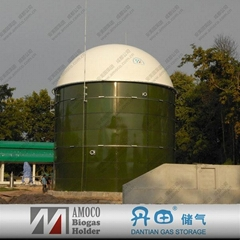 Chinese anaerobic digester with double membrane biogas storage bag on top
