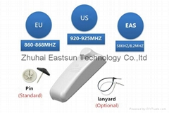 RFID 超高频服装标签带EAS射频或声磁防盗报警功能