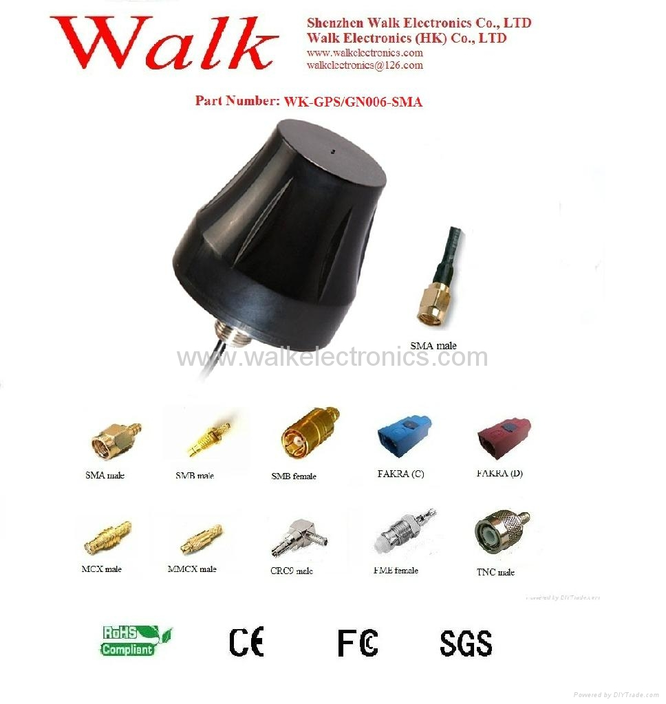 waterproof screw mount high gain GPS GLONASS Active Antenna(WK-GPS/GN006-SMA) 1