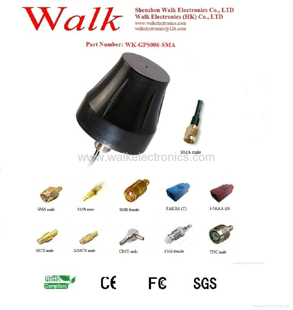 waterproof screw mount high gain active GPS Antenna(WK-GPS006-SMA)