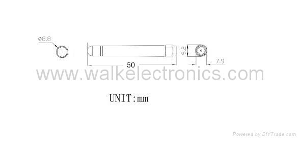 sma male rubber WiFi/2.4GHz Antenna(WK-WIFI007-SMA/MS) 2