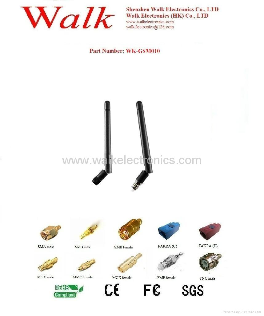 rotatable SMA rubber GSM/GPRS/AMPS/CDMA Quad Band Antenna(WK-GSM010) 1